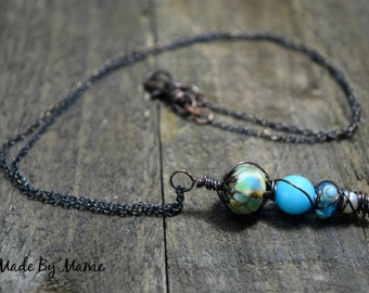 Rustic Lampwork Glass and Gemstone Stack Pendant Necklace, Bohemian Blue Jewelry, Artisan Lampwork Beads, Freshwater Pearl, Oxidized Copper