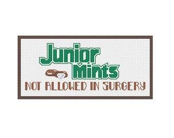 Inspired by Seinfeld: Cross Stitch Pattern - Junior Mints Cross Stitch Pattern