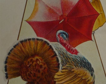Little Girl Fending Off Turkey With Red Umbrella Antique NASH Thanksgiving Postcard