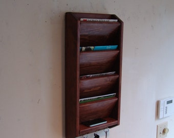 """12"""" wide, 24"""" tall, 4 Pocket Mail & Key Organizer, Handcrafted Wall Mount Wooden Letter Holder, Rack Sorter, Eng Chestnut other stains sizes"""