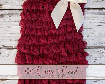 Petti Lace Romper, Wine, Burgundy - CHOOSE BOW COLOR(S) - Ruffle Romper, Lace Baby Romper, Girl 1st Birthday, Lace Vintage Romper, 3Mo - 8y