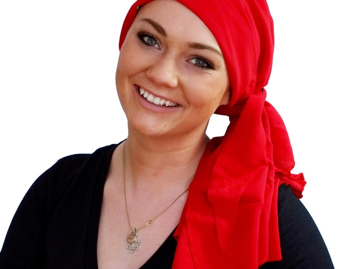 Featured listing image: Carlee Pre-Tied Head Scarf, Women's Cancer Headwear, Chemo Scarf, Alopecia Hat, Head Wrap, Head Cover for Hair Loss - Red