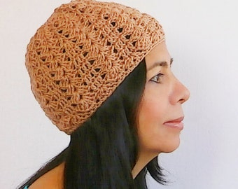 "Lacy crochet hat easy level pattern // ""Cascade"" beanie crochet pattern _ C26"