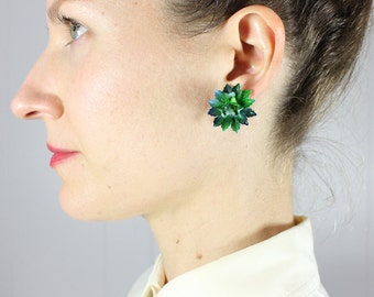 1960s earrings • vintage enamel flower earrings • green • clip-on