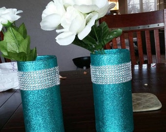 5 teal glitter vases, teal and silver, teal glass vases, wedding centerpiece, baby shower centerpiece, bridal shower decor, turquoise decor
