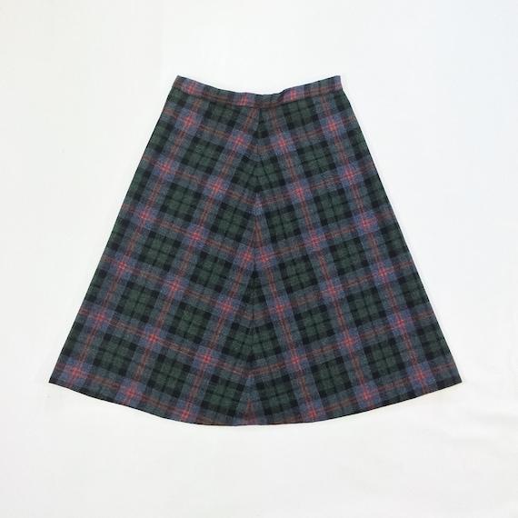 70s wool plaid aline skirt tartan midi skirt a line high