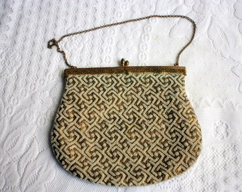 Gold and White Evening Bag, Gold and white clutch - Vintage Evening Bag, vintage clutch