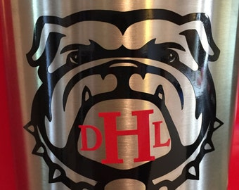 Georgia Bulldog Decal/UGA Decal/Georgia Bulldogs Yeti Monogram Decal/Georgia Yeti/UGA Bulldog laptop decal/Uga Car Decal