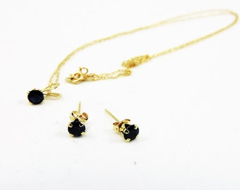 14k Gold And Blue Spinel Necklace And Earrings 18""