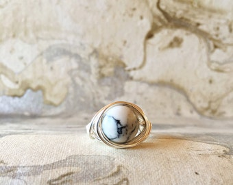 Sterling Silver Wire Wrapped Marble Ring | Boho Rings | Silver Rings | Minimalist Ring | Gemstone Rings | Womens Rings | Stacking Rings |
