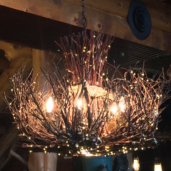 Cheyenne Rustic Twig Chandelier 5 1 Candle by