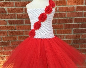 Red and White Tutu Dress - Red and White Christmas Dress - Christmas Tutu Dress - Valentine Tutu Dress - Toddler Christmas Dress - Red Tutu