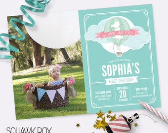 First Birthday Invitation Set for Boys or Girls – Hot Air Balloon Theme – Printable Photo Invitation and Thank You Card by Squawk Box Studio