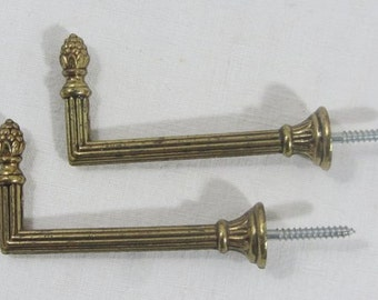 "2 French curtain tiebacks, 3.2"" 8cm, brass curtain tie backs. French vintage, 2 Brass hooks."