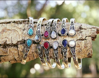 Choose the stone! Adjustable silver bracelets. Tribal jewelry. Bangles.