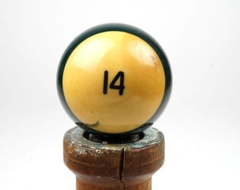 "14 Old Phenolic Resin Billiard Ball Size 2.25"" Pocket Balls Fourteen XIV Green Pool Stripes Striped Stripe"