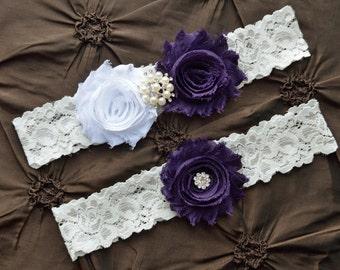 Wedding Garter Set, Bridal Garter Set - White Lace Garter, Keepsake Garter, Toss Garter, Shabby Chiffon White Purple Wedding Garter