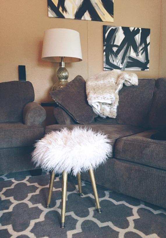 White Faux Fur Stool Metallic Gold Wood Legs White Fake Fur