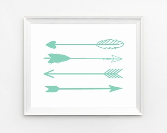 Arrow Print, Wall Art, Printable, Mint Green Art, Arrow, Wall Art, Nursery Print, Arrow Art, Prints, Home Decor, Mint Print, Wall Art Prints