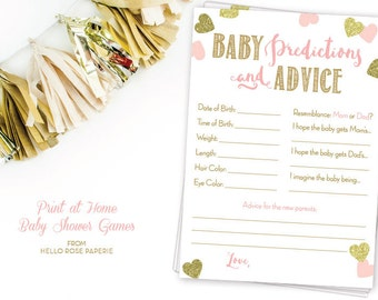 Baby Predictions and Advice . Pink and Gold Baby Shower Games Printable . Instant Download . Baby Shower Girl . Pink Gold Glitter Hearts