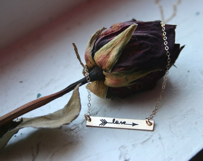 Love Arrow Bar necklace, wife, girlfriend, anniversary, birthday, Christmas gift Yellow Gold, Rose Gold, Sterling Silver