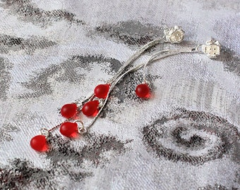 red stud earrings dangle studs silver red jewelry elegant earrings long jewelry gifts earrings graduation gifts wife birthday gift пя125