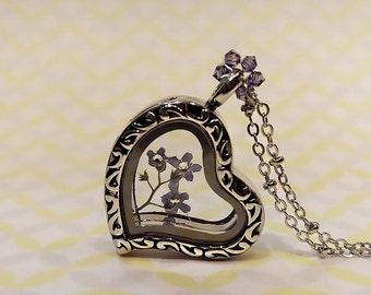 Forget Me Not Locket Necklace, Pressed Flower Heart Locket