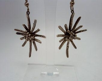 Mid Century Modern- MCM Modernist Sputnik Sterling Silver Dangle Earrings
