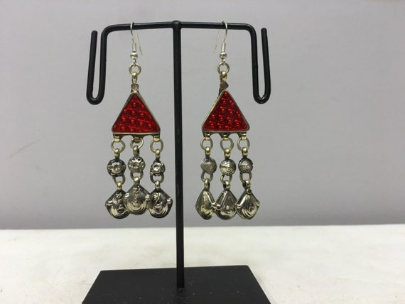 Earrings Silver Middle Eastern Triangle Red Plastic Reflector Light Dangle Charms  Handmade Silver Red Belly Dance Charms Dangle Unique E183