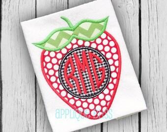 Monogram Strawberry Digital Applique Design - Strawberry - Summer - Monogram - Strawberry Applique Design - Strawberry Embroidery Design