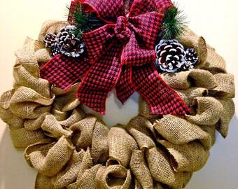 "20"" Seasonal Red and Black Houndstooth Burlap Wreath"