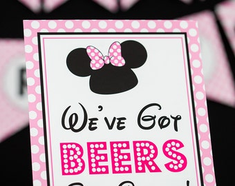 We've Got Beers Say Cheers Sign - Instant Download Minnie Mouse Party Sign - Printable Minnie Mouse Sign by Printable Studio