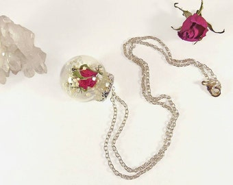 Real rose necklace, rose globe necklace, real flower pendant, glass vial necklace, dried flower jewelry