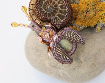 Pendant handmade beaded beadwork embroidered pendant with embroidery pendant with ammonite beads pendant with beetle Swarovski gemstone