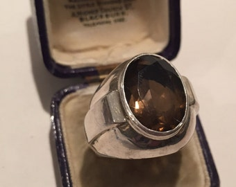 Vintage silver smoky quartz ring, divine piece