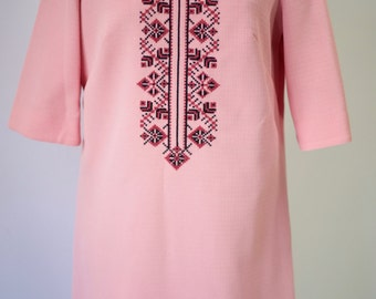 Pink Embroidered Shift