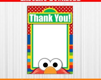 50% OFF SALE Thank you Card Elmo, Blank Card, Instant download, pdf jpg - Sesame Street