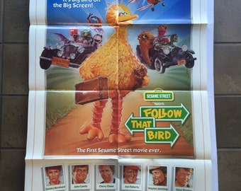 Follow that Bird ORIGINAL MOVIE POSTER / Vintage Sesame Street Movie Poster / Big Bird Wall Poster / first ever Sesame Street movie