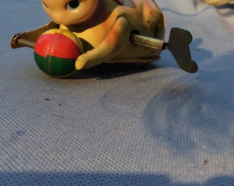 Wind Up Rolling  Rollover Cat with Ball Toy with Key - Litho Celluloid Head/tail Vintage 50s Japan