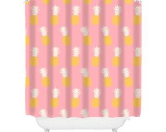 pineapple shower curtain pink bathroom decor teen girl bathroom pineapple decor fun shower curtain pink shower fun shower cool shower