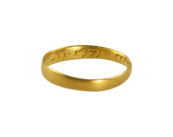 Antique gold memorial ring, circa 1710.