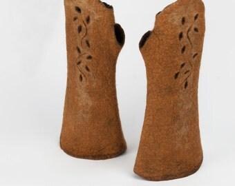 1920s Felt fingerless gloves, Art Deco mittens, Merino long fingerless gloves,  A felted wearable art