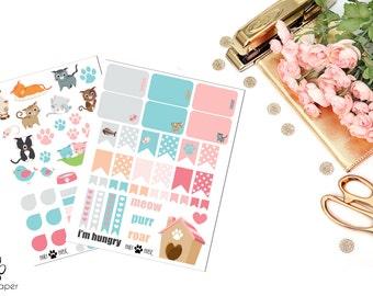 Cats & Kittens Decorative Planner Sticker Set for Erin Condren Planners