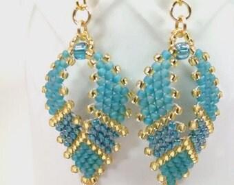 Russia Leaf Earrings, Beaded Earrings, Teal Earrings, Seed Bead Earrings, Gypsy Earrings, Hippie Earrings, Bohemian Earrings