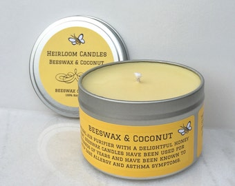 Beeswax & Coconut Candle 8oz Tin - Air Purifier - Aromatherapy candle - natural candle - beeswax candle - honey candle - coconut candle