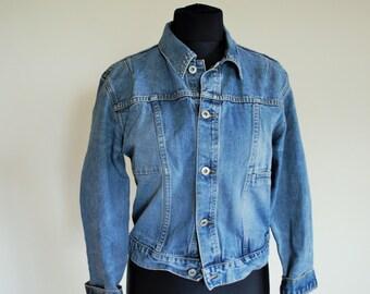 Vintage Womens Denim Jacket / Oversize / Jean / Light /  Large / Oversized / Basic Fit / Made in Paris