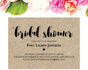 Bridal Shower Invitation Stamp - Calligraphy Bridal Shower Invite - Personalized Rubber Wedding Stamp - DIY Wedding Shower Invite Stamp