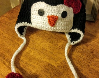 Free shipping! Crochet Penguin Hat, Made to Order
