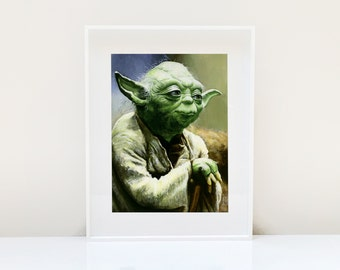 Yoda Portrait ( Yoda Art Star Wars Art Star Wars Jedi The Force Awakens Yoda Print Star Wars Painting Star Wars print Jedi Art )