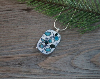 Shades of Blue (Navy, Turquoise, & Denim) and French Vanilla Fused Pendant with Satin Necklace; Reactive Glass Pendant; Fused Glass Jewelry